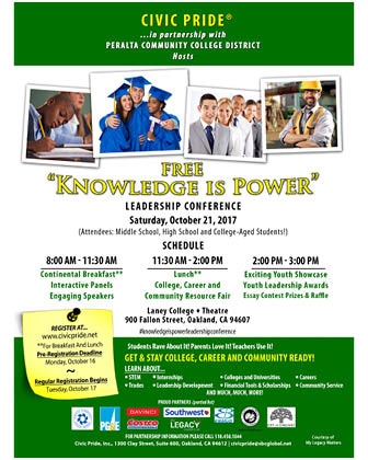 "Civic Pride Inc Presents: "" Youth Leadership Conference"" Oct 21st at Laney College – 8:00 a.m. – 3:00 p.m. Oakland, CA"
